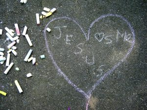 """""""Jesus Loves Me"""" - a chalk drawing at a 2015 youth picnic, First Baptist Shelton, CT. Photo by E. Smith."""